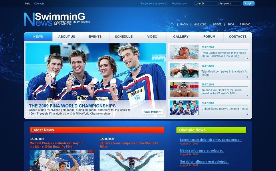 Template Photoshop  para Sites de Escola de Natação №50429 New Screenshots BIG