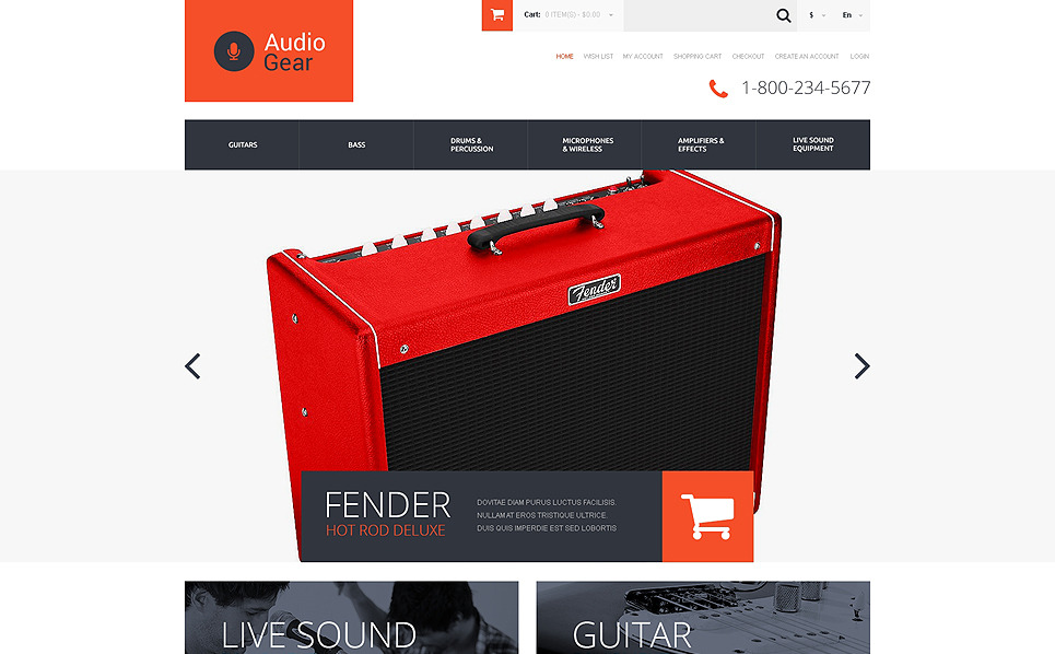 Адаптивний OpenCart шаблон на тему музичний магазин New Screenshots BIG