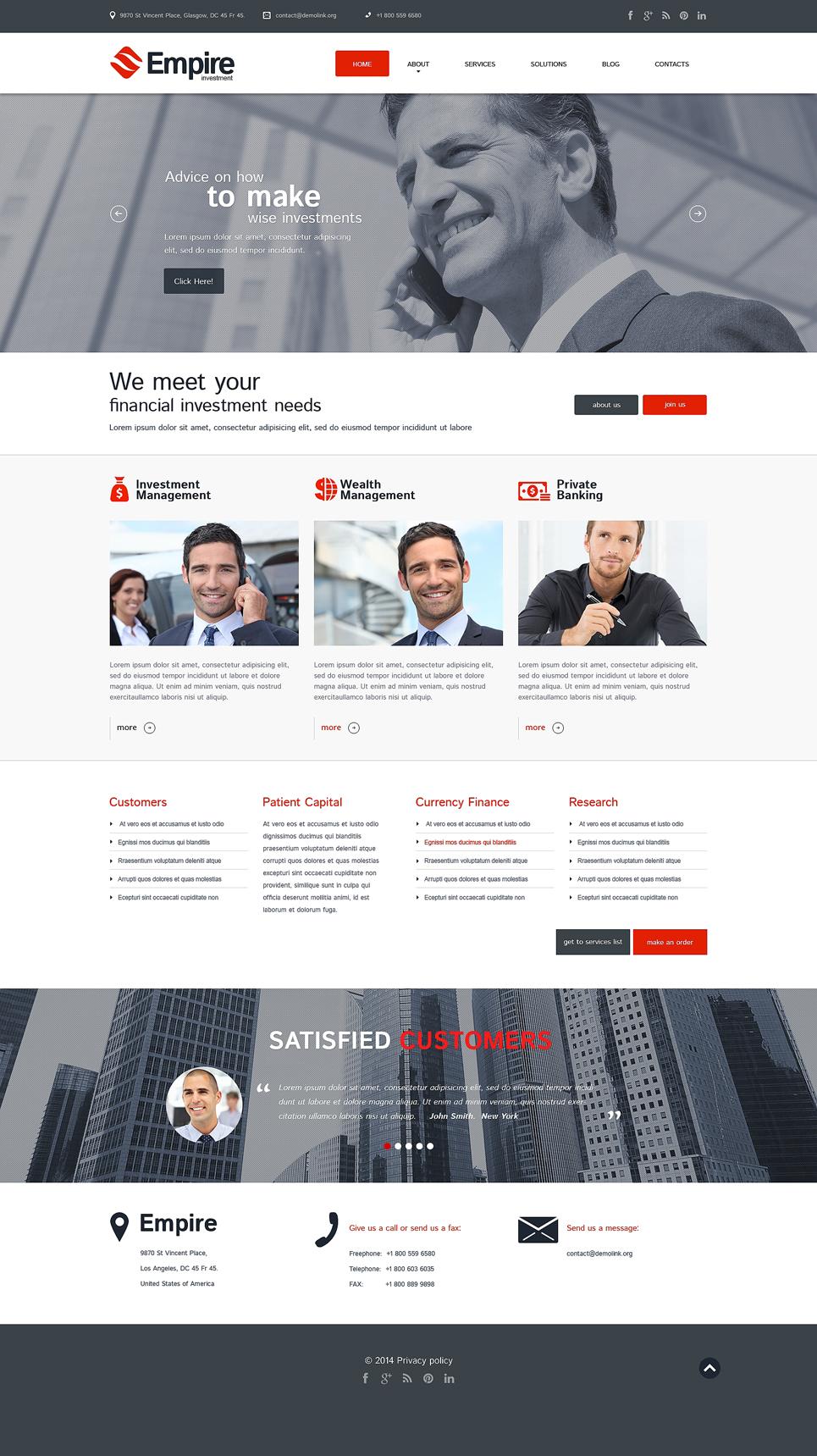 Адаптивный шаблон сайта на тему инвестиционная компания #50494