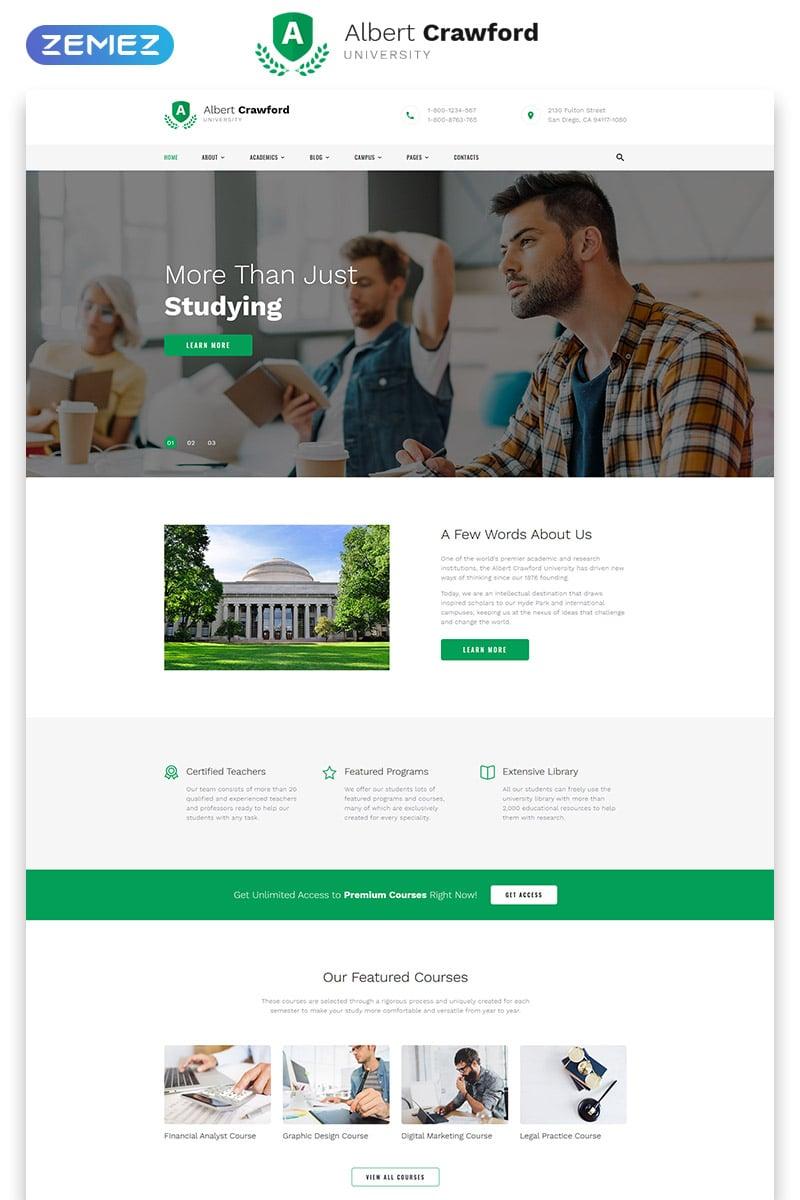 Albert Crawford - University Modern Multipage HTML Website Template
