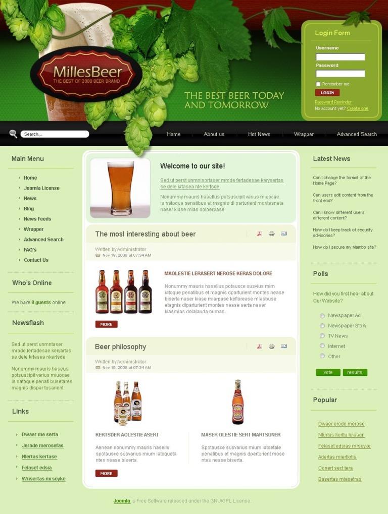 Brewery PSD Template New Screenshots BIG