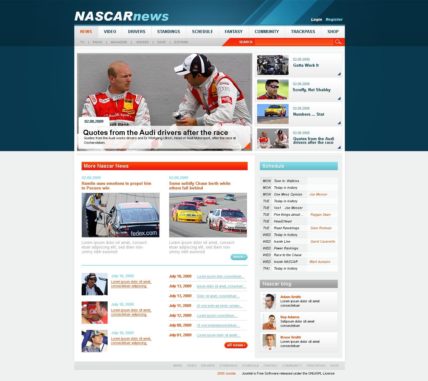 Car Racing PSD Template - screenshot