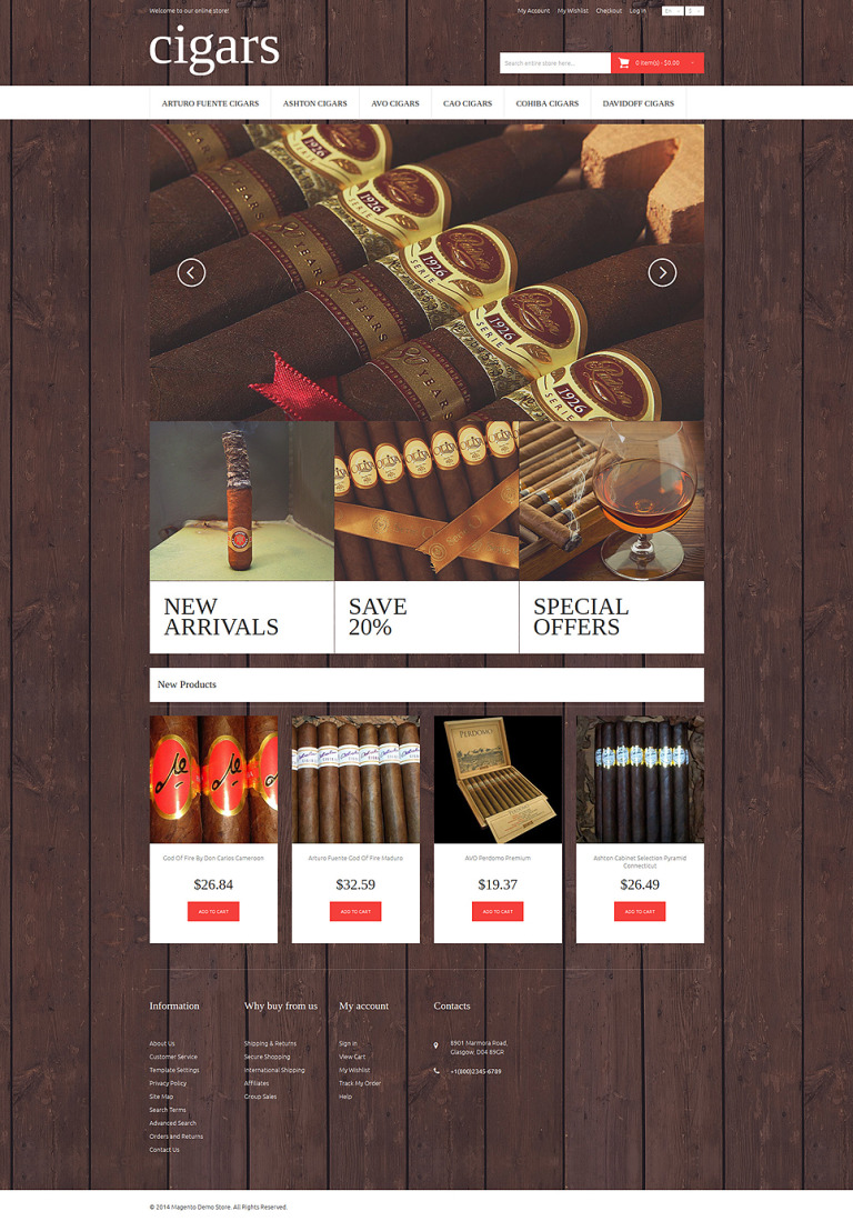 Cigar Flavor Magento Theme New Screenshots BIG