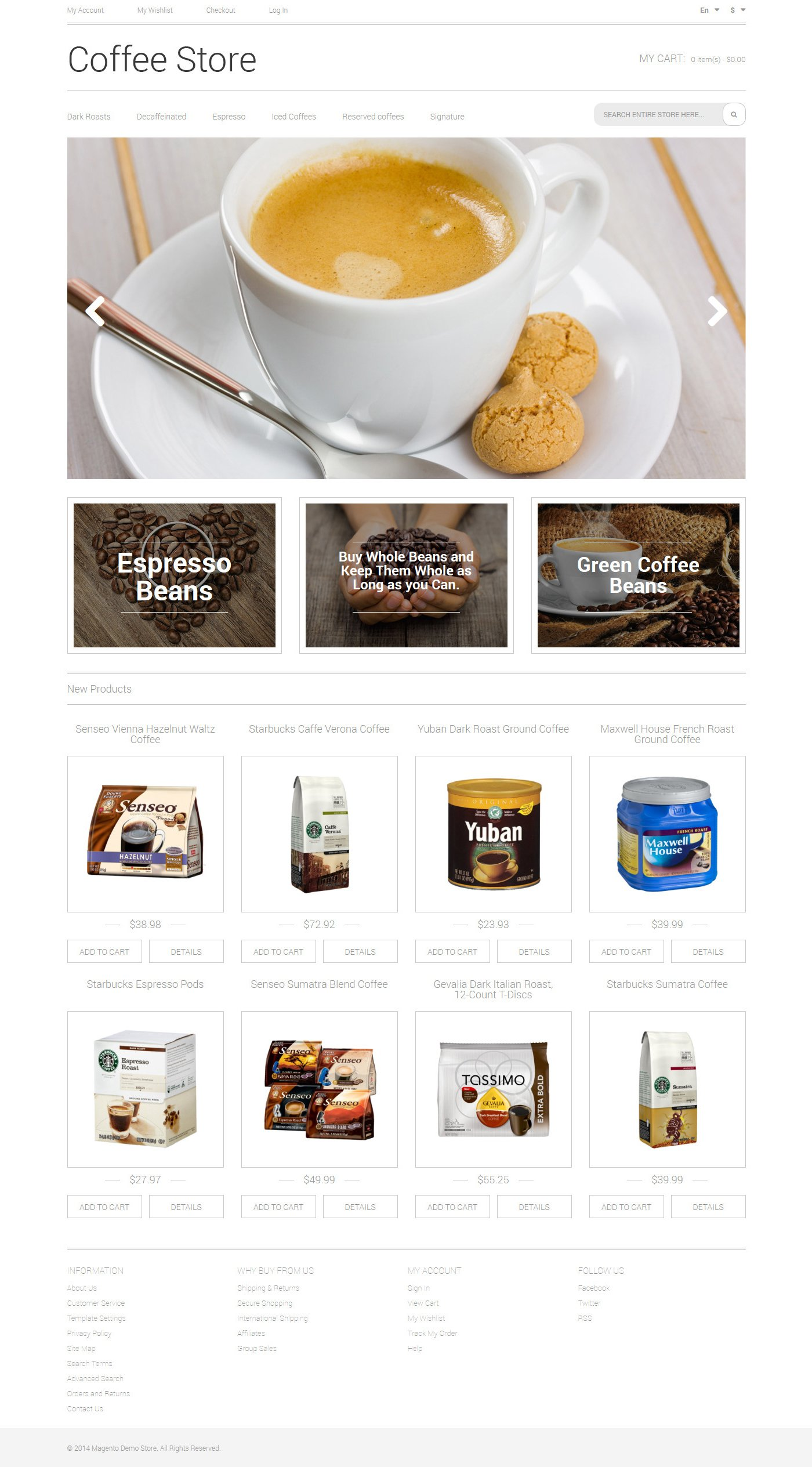 Coffee Aroma Magento Theme - screenshot
