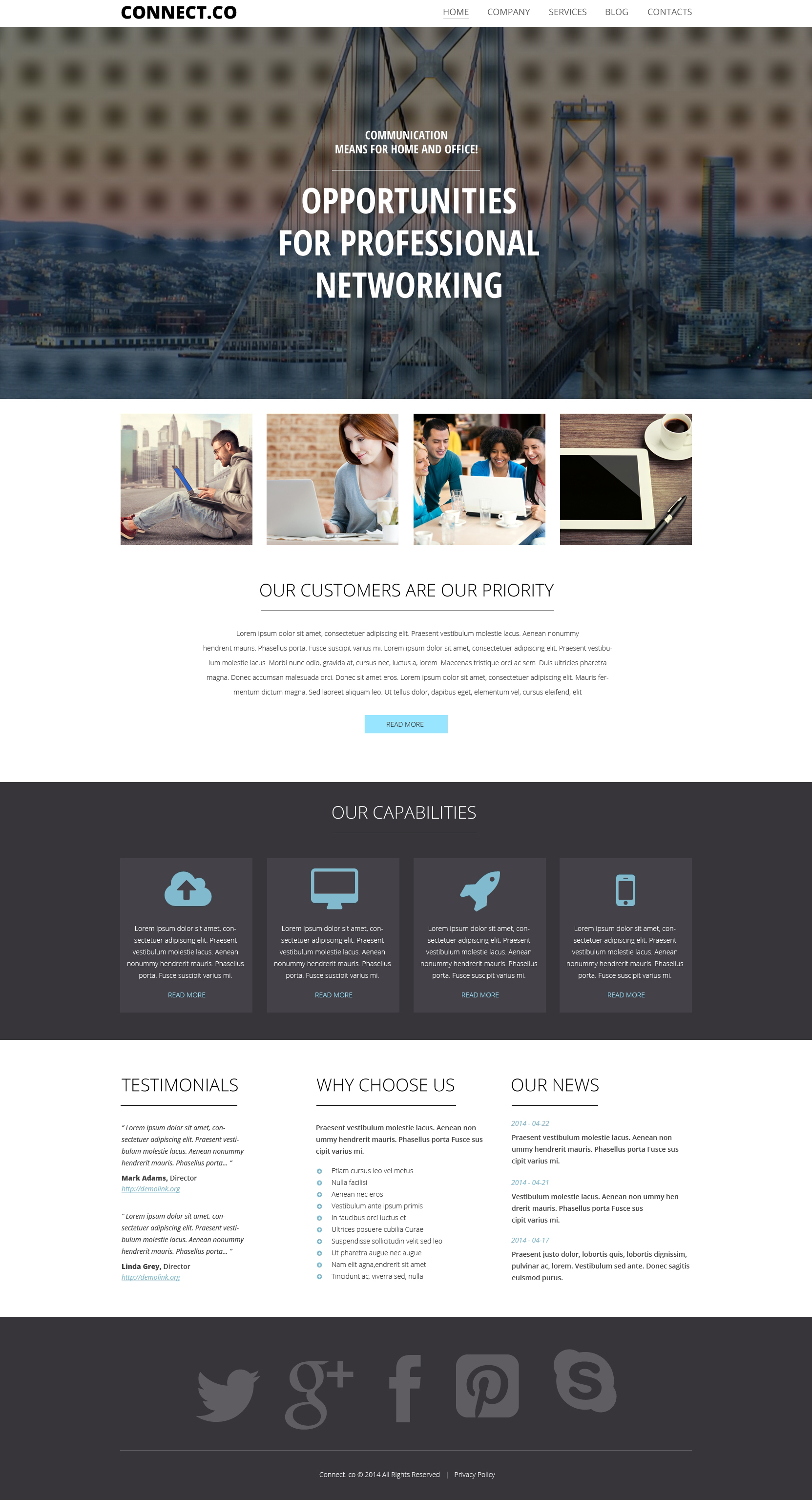 """Communications"" - адаптивний WordPress шаблон №50490 - скріншот"