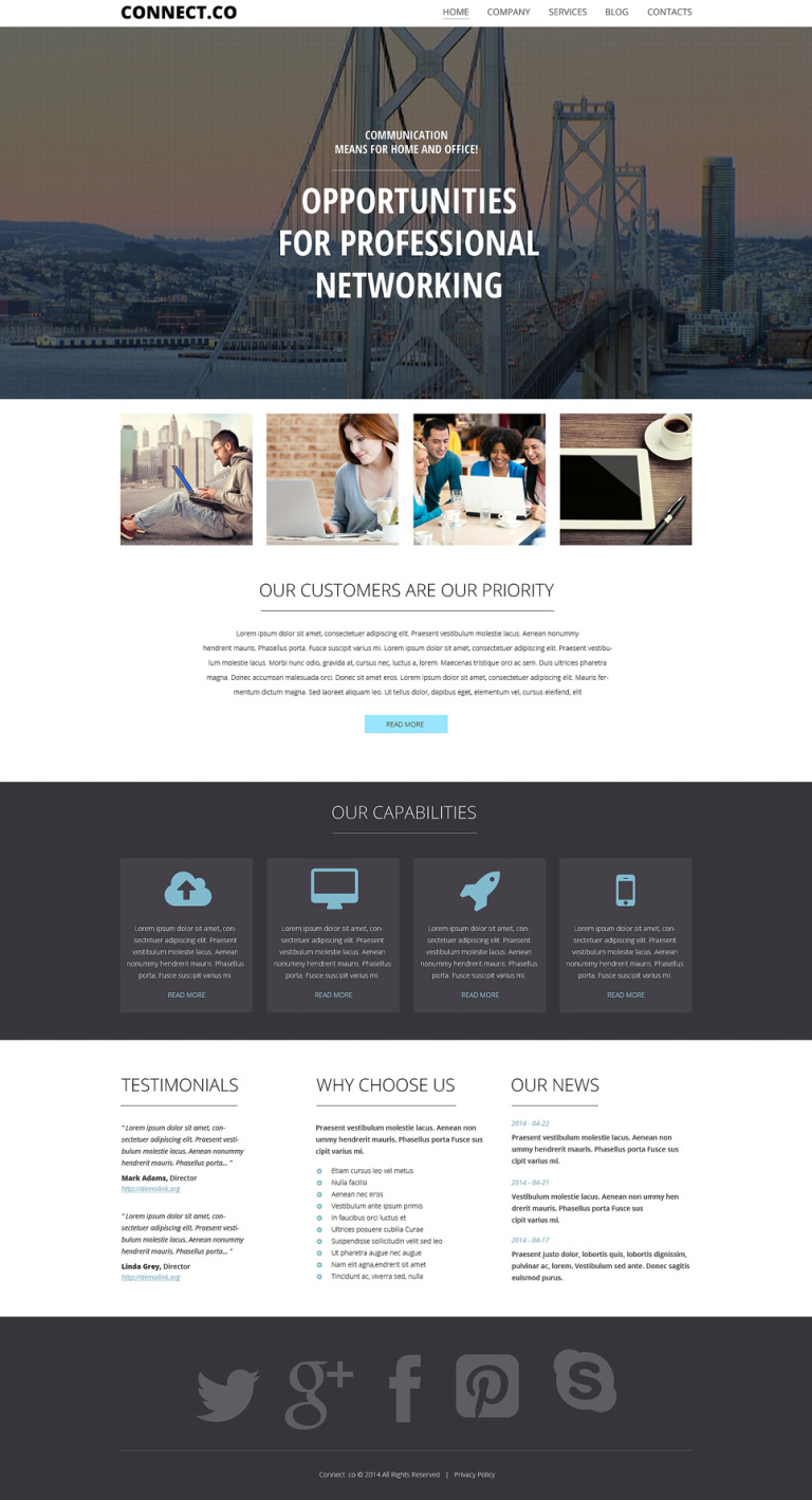 Communications WordPress Theme New Screenshots BIG