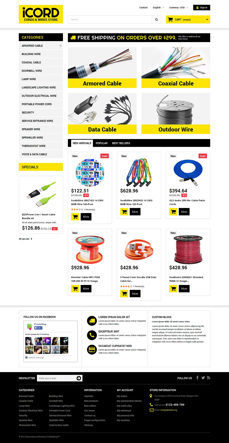 Demo for cords wires store prestashop theme 50470 for Terms and conditions template ecommerce