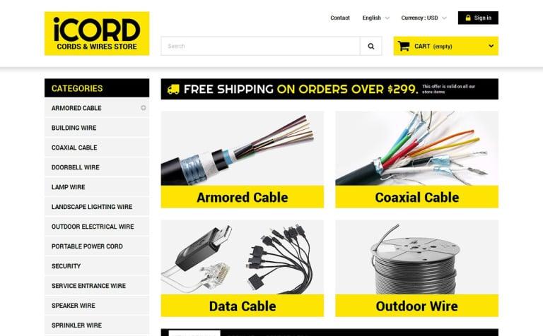 Cords Wires Store PrestaShop Theme #50470