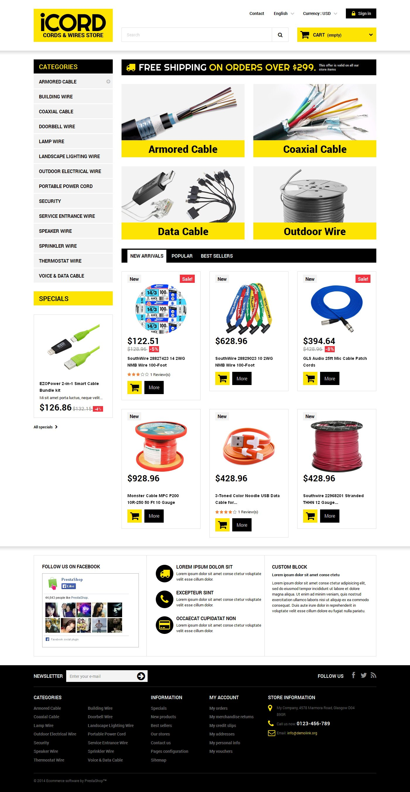 Cords  Wires Store PrestaShop Theme