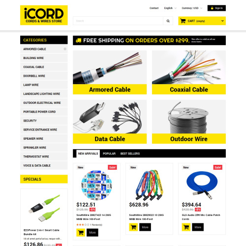 ICord Cords & Wires Store - Cords Wires Store Responsive PrestaShop Template