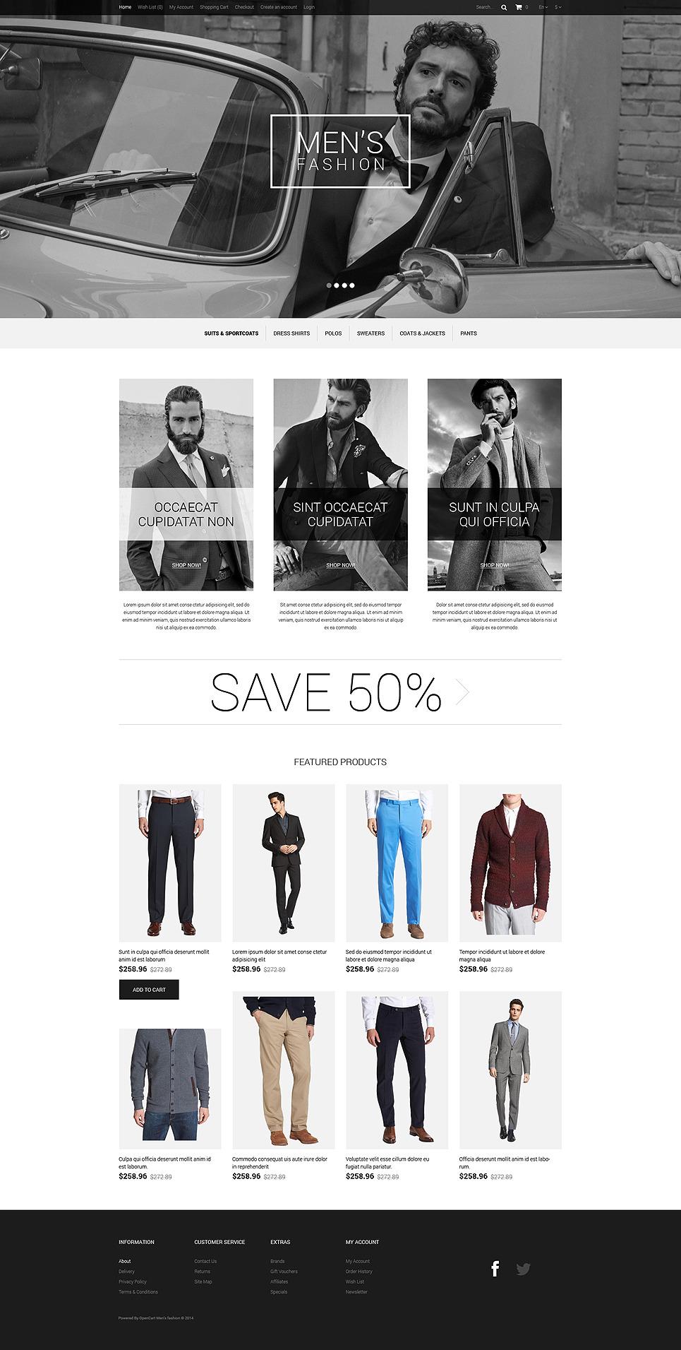 Elegance of Men's Style OpenCart Template New Screenshots BIG