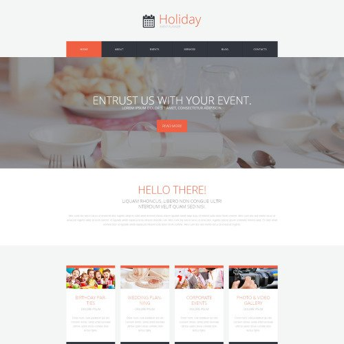 Holiday Event Planner - Event Planner WordPress Template based on Bootstrap