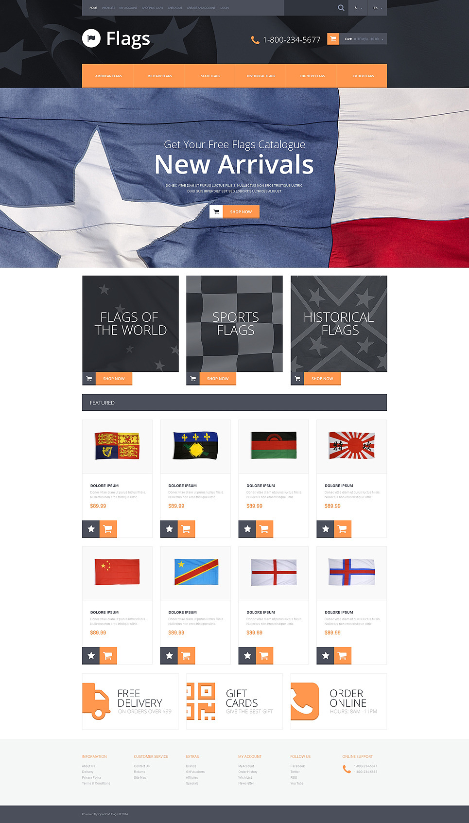 Flag Shop OpenCart Template New Screenshots BIG