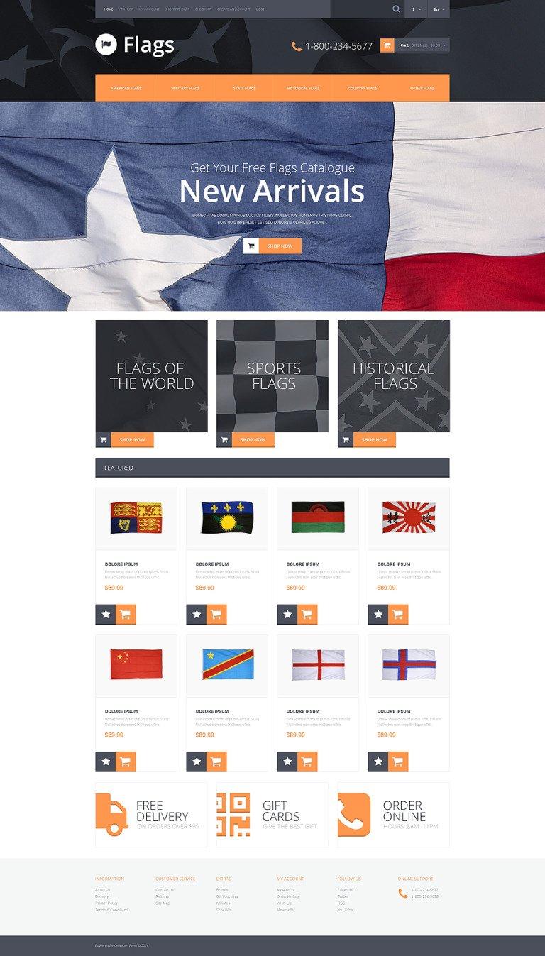 Flag Shop OpenCart Template New Screenshots BIG