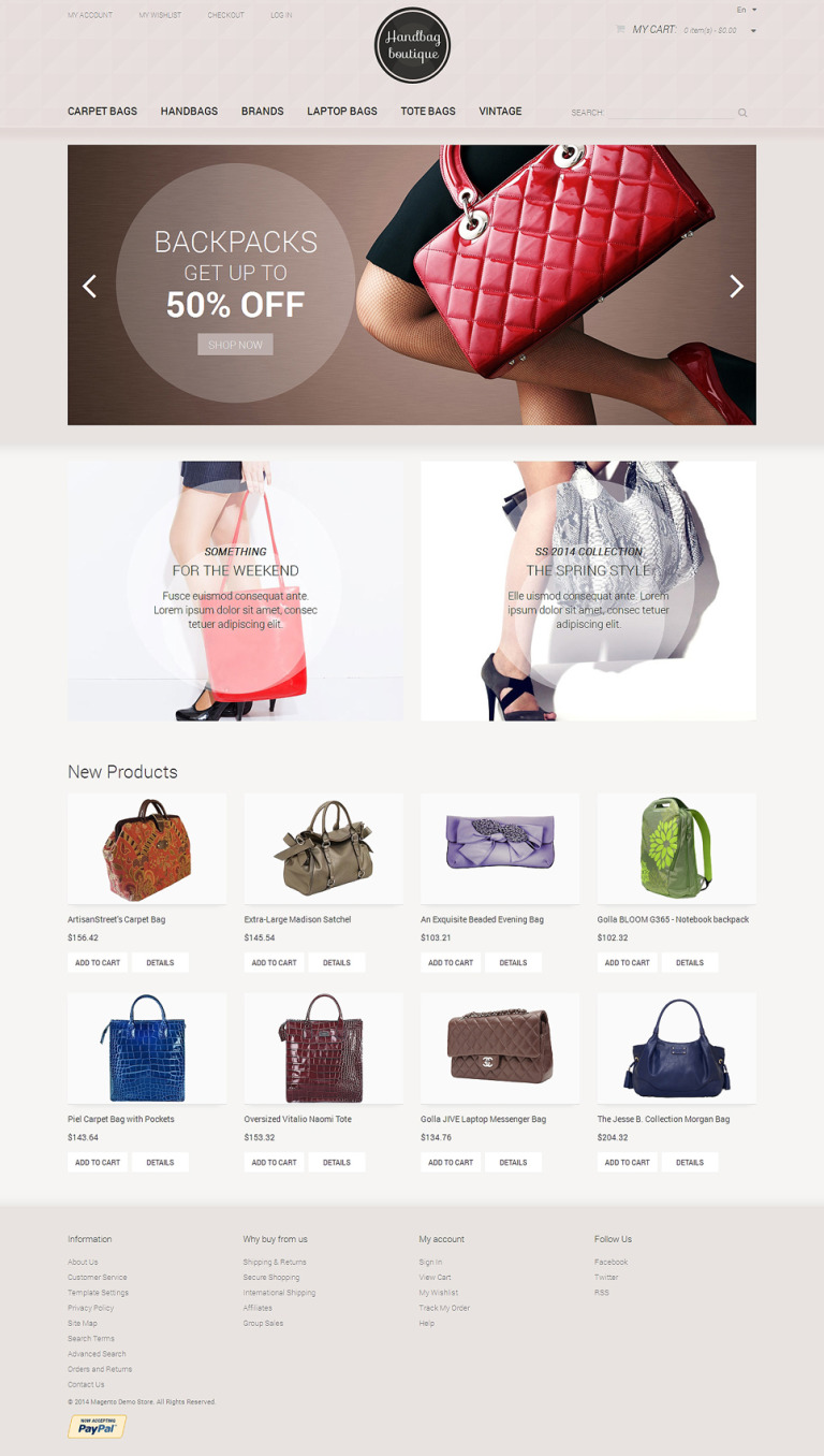 Handbag Boutique Magento Theme New Screenshots BIG