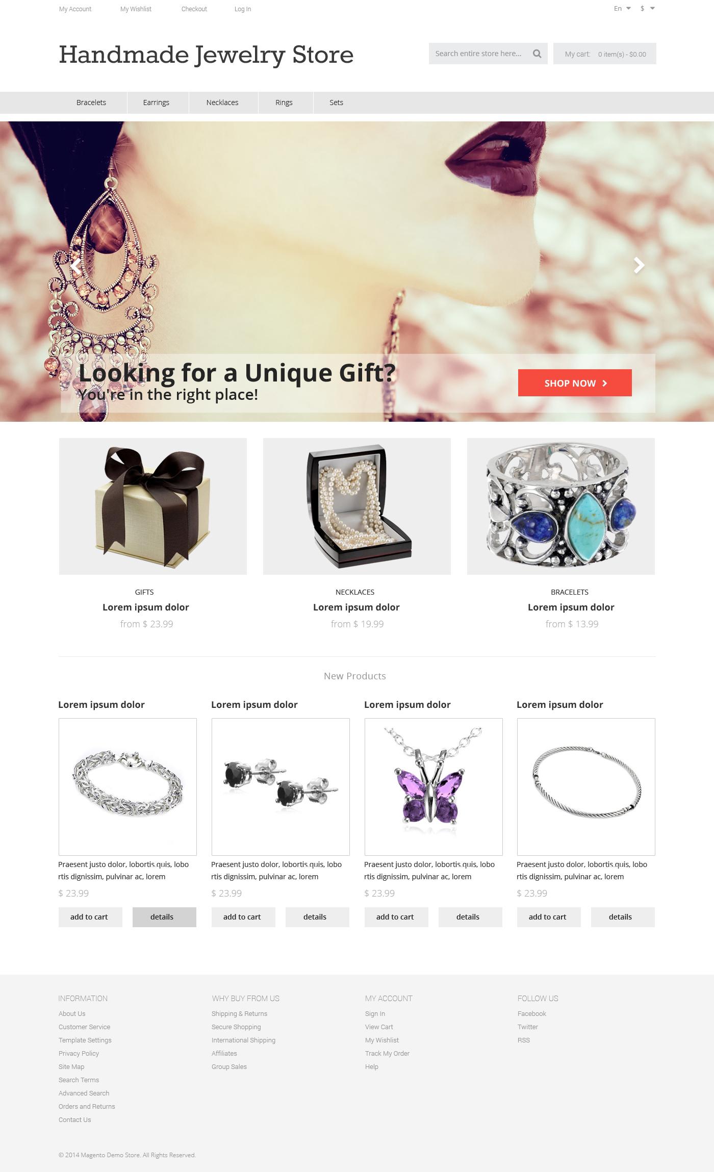 Handmade Jewelry Magento Theme - screenshot