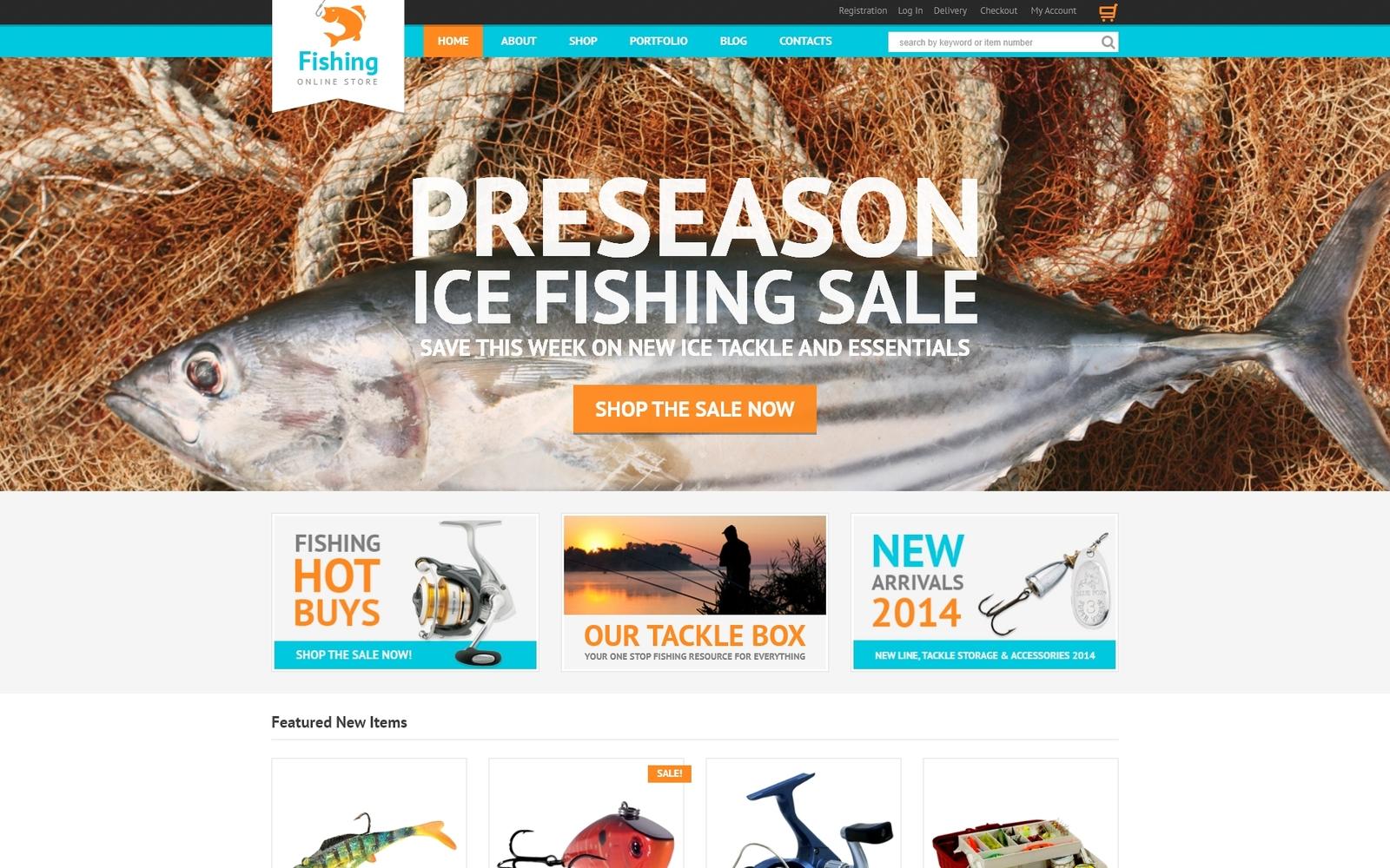 """""""Hobby Fishing"""" Responsive WooCommerce Thema №50440"""