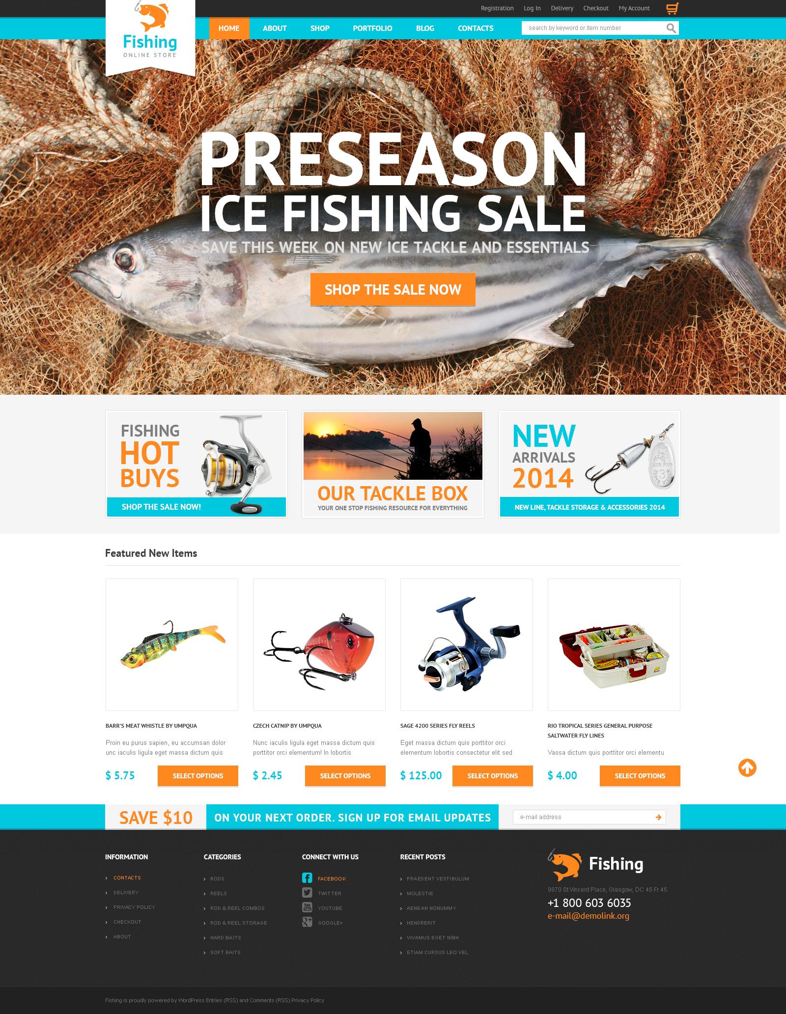 Hobby Fishing Tema WooCommerce №50440