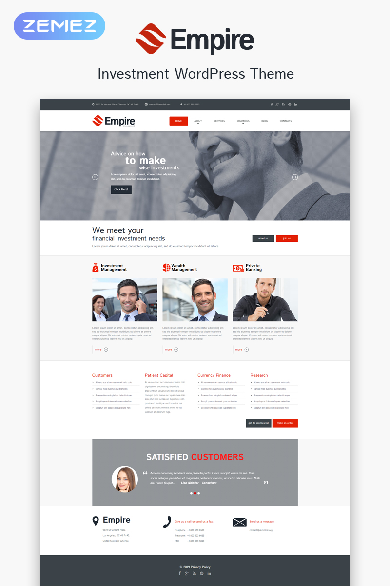 Investment Company Responsive WordPress Theme - screenshot