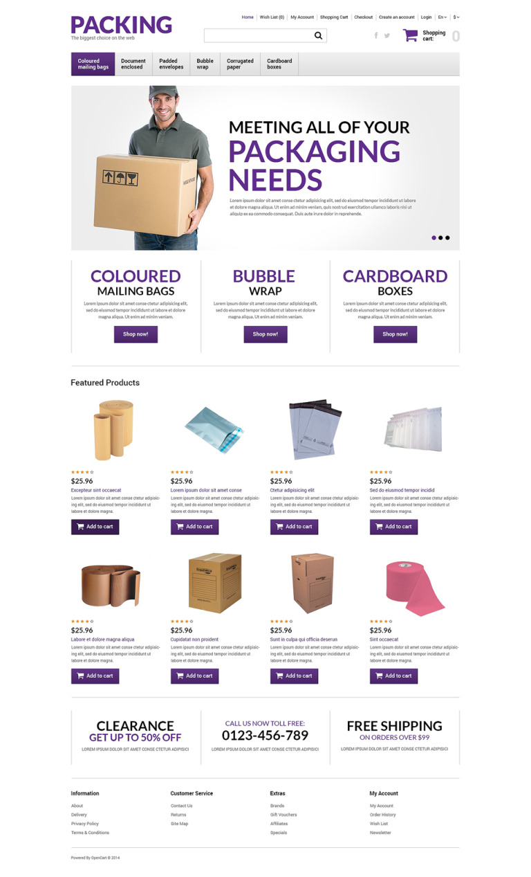Packing Products Store OpenCart Template New Screenshots BIG