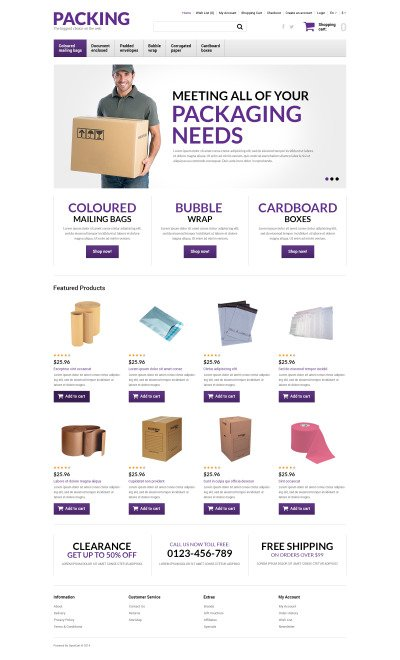 Packing Products Store OpenCart Template