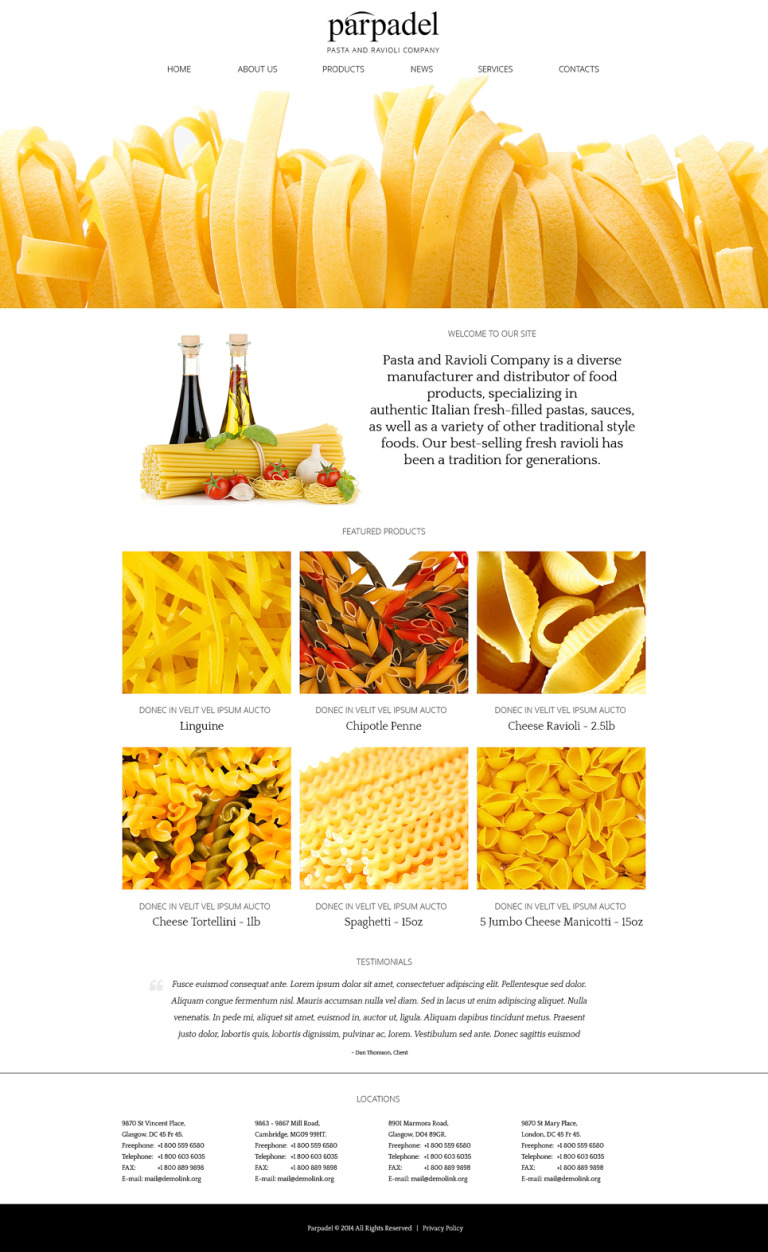 Pasta Paradise Joomla Template New Screenshots BIG