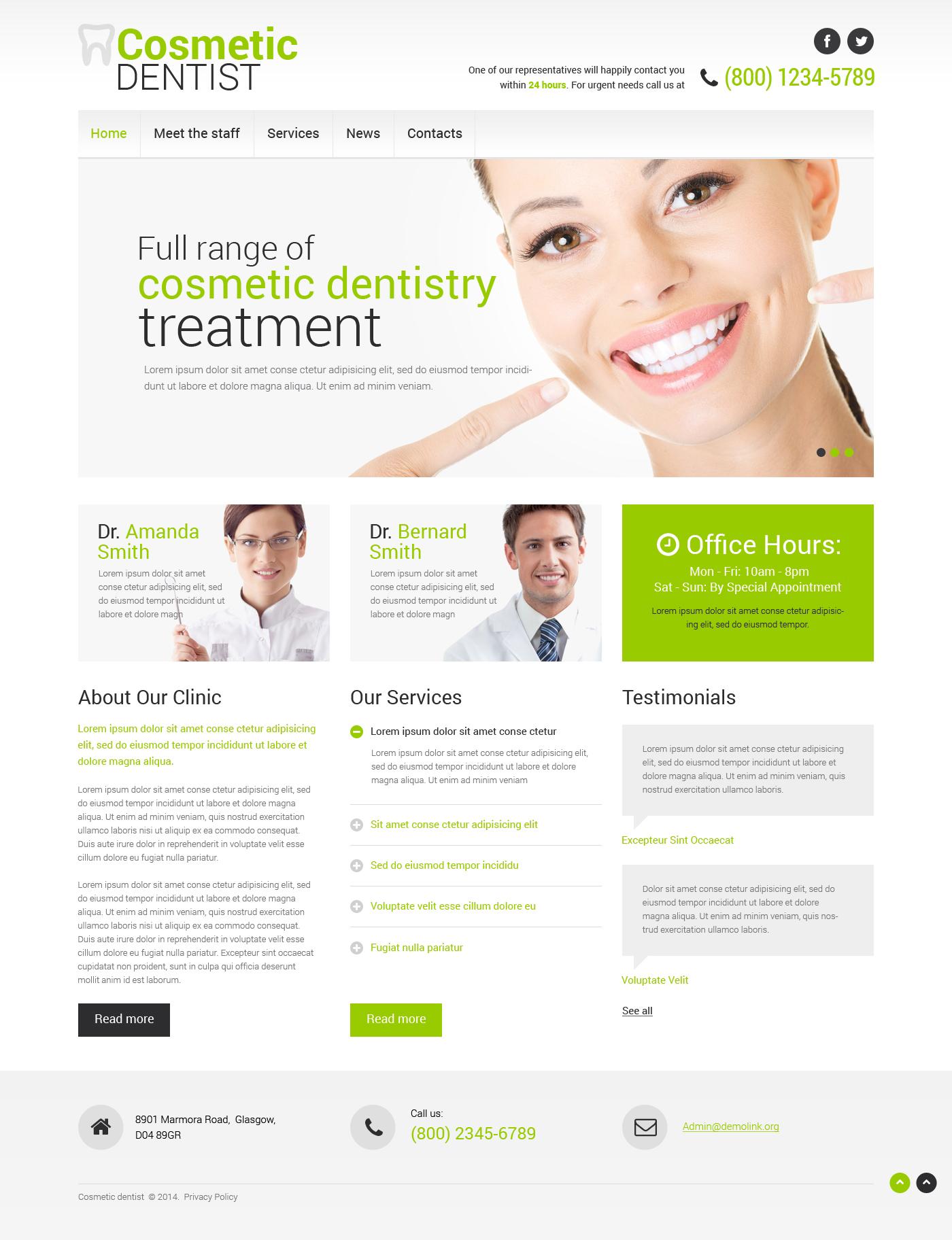 Responsive Website Vorlage für Zahnmedizin #50449