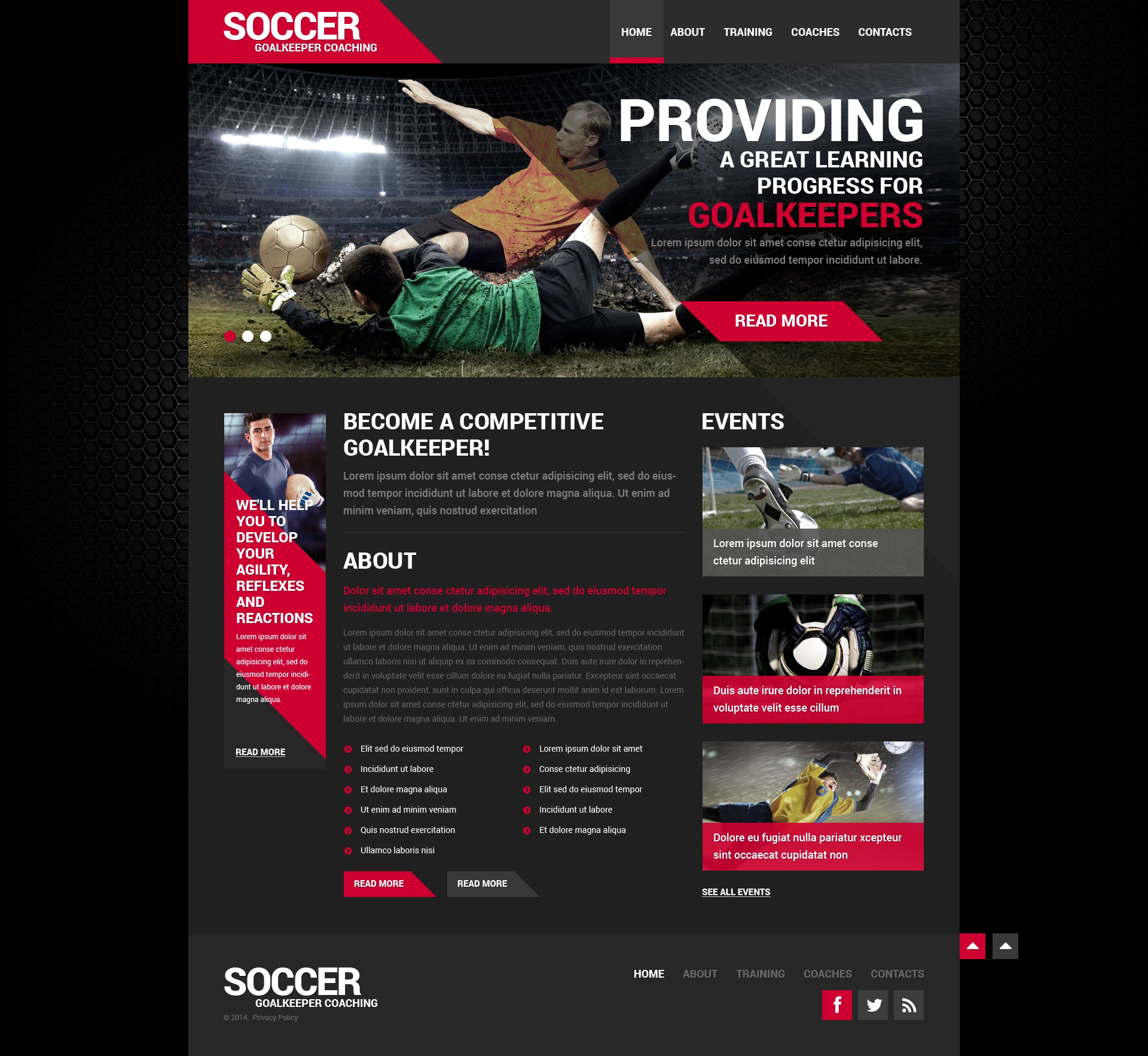 Soccer Responsive Website Template #50452