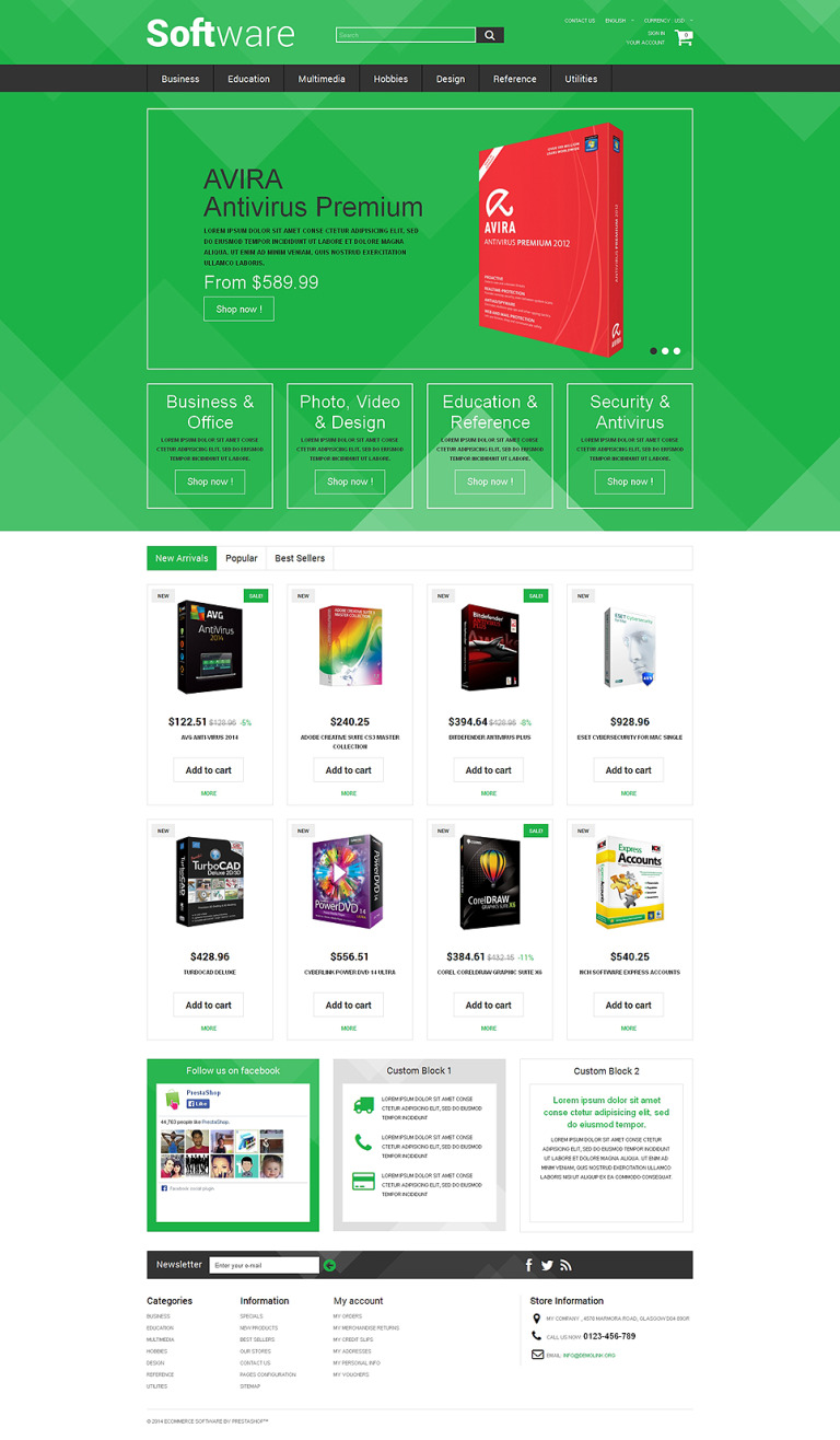 Software Store PrestaShop Theme New Screenshots BIG