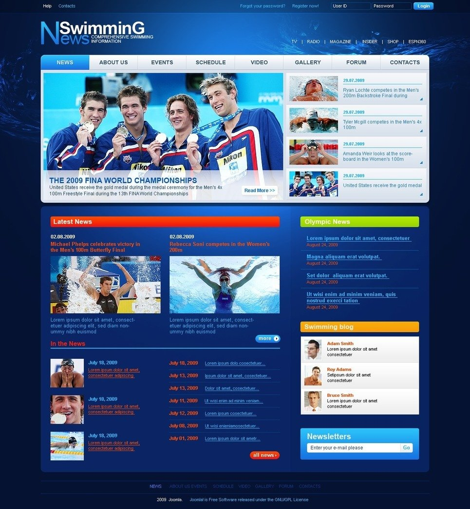 Swimming School PSD Template New Screenshots BIG