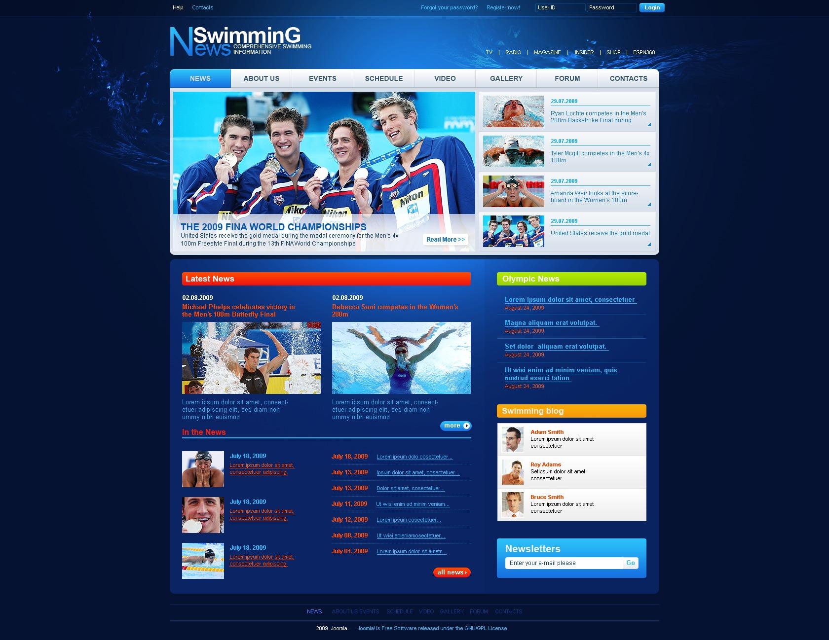 Swimming School PSD Template
