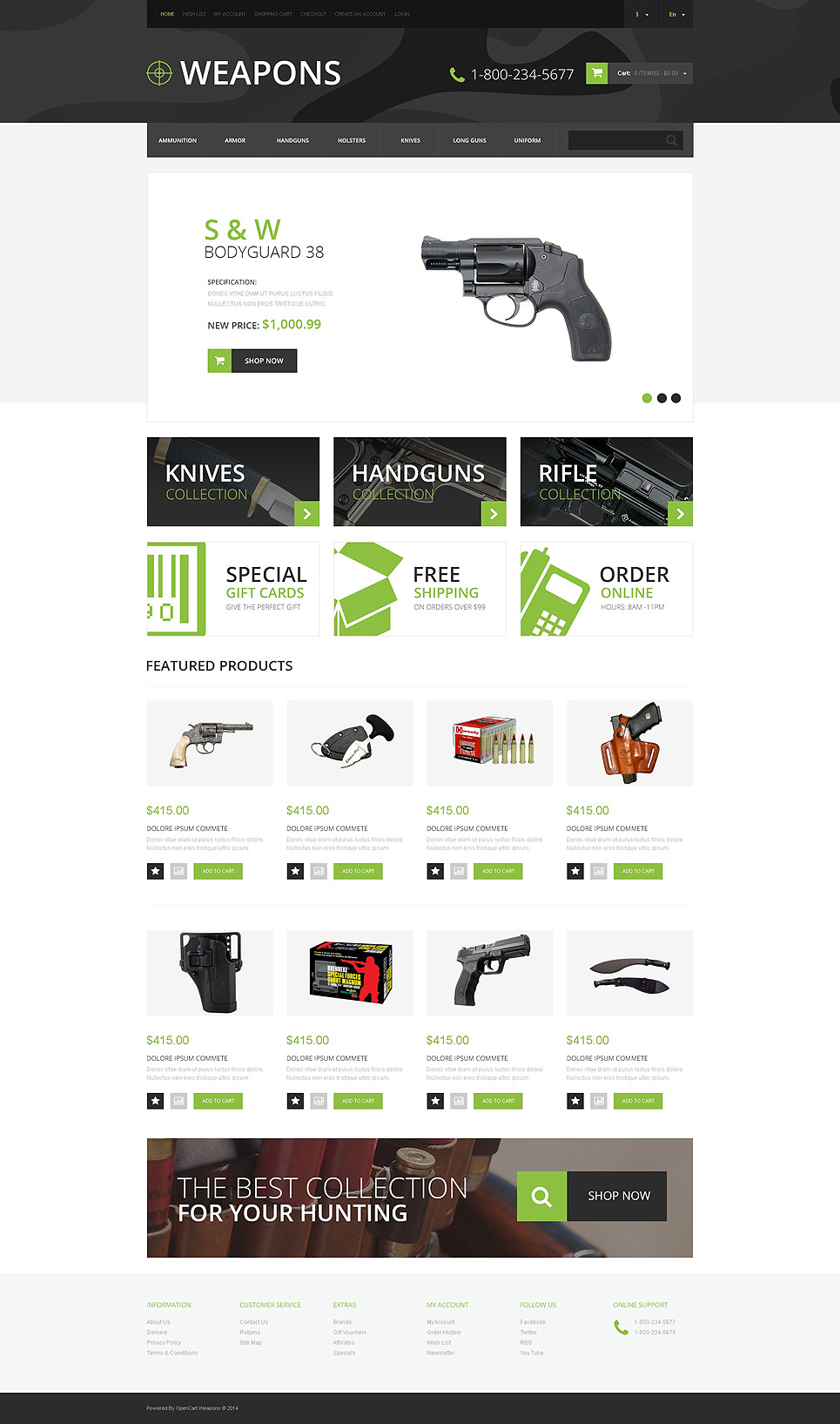 Weapon Shop OpenCart Template New Screenshots BIG