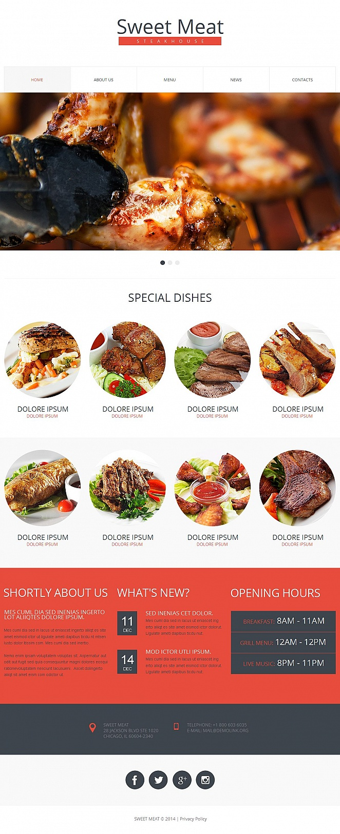 Steakhouse Web Template with Image Slider Above the Fold - image