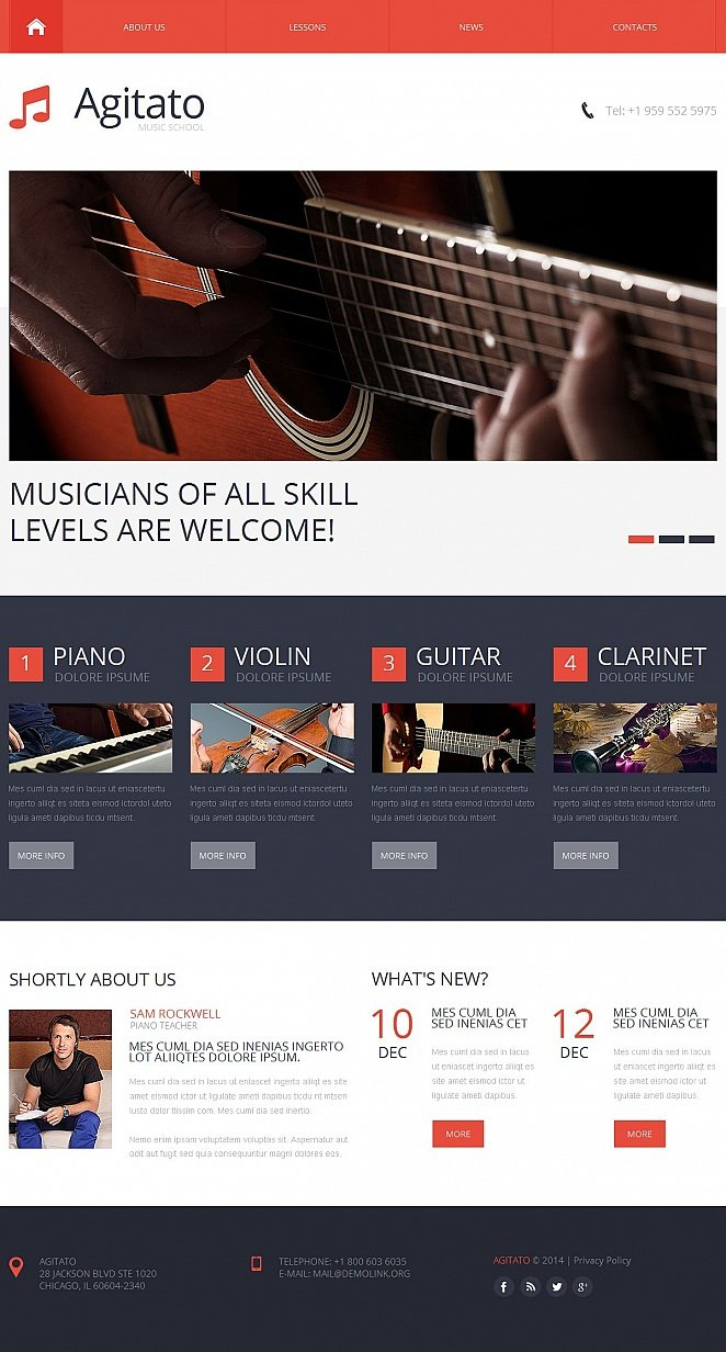 Music School Website Template with Catchy Navigation Menu - image