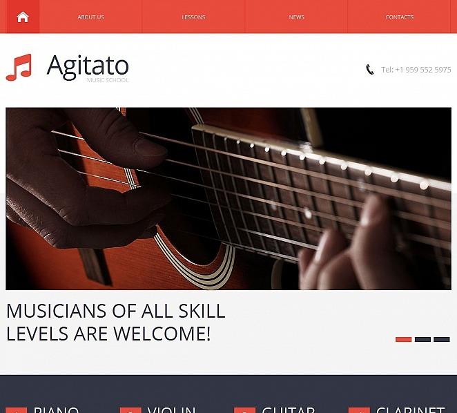 Premium Müzik Okulu  Moto Cms Html Şablon New Screenshots BIG