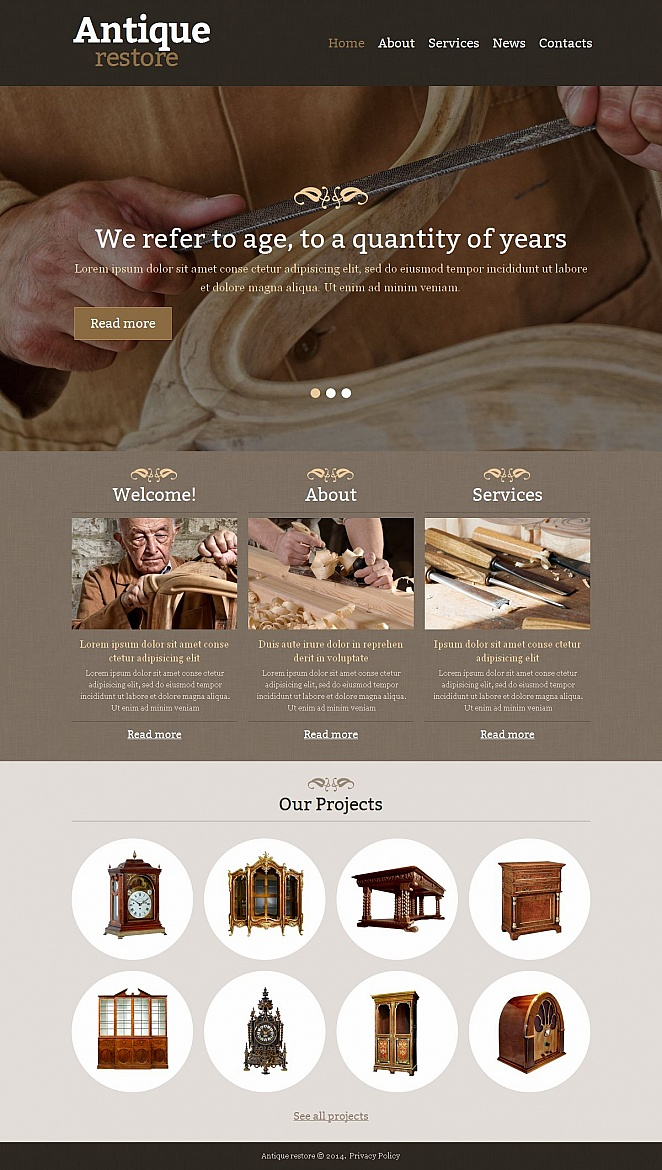 Antique Restoration Website Template with Textured Elements - image