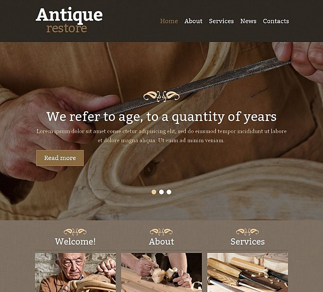 Moto CMS HTML Vorlage für Antiquitätenladen  New Screenshots BIG