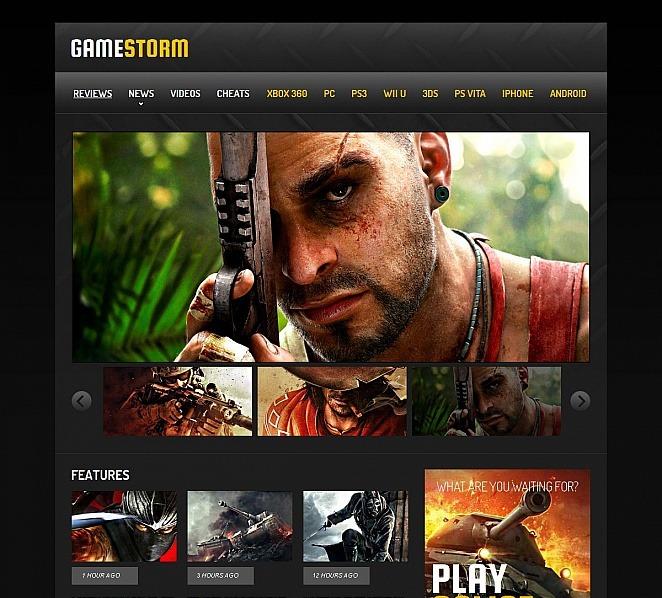 Modèle Moto CMS HTML  pour site de jeux New Screenshots BIG