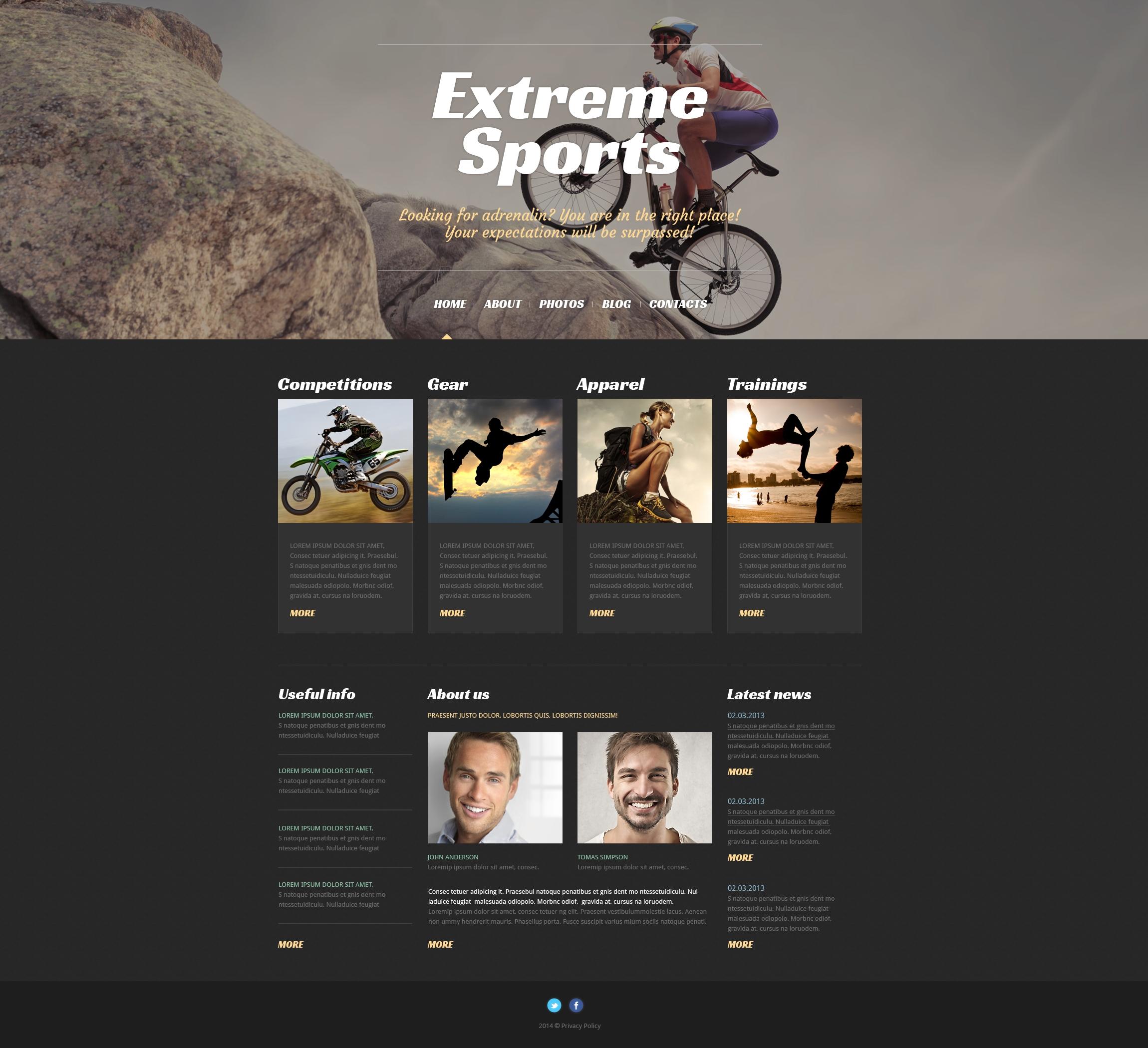 Адаптивний WordPress шаблон на тему екстримальні види спорту №50529 - скріншот
