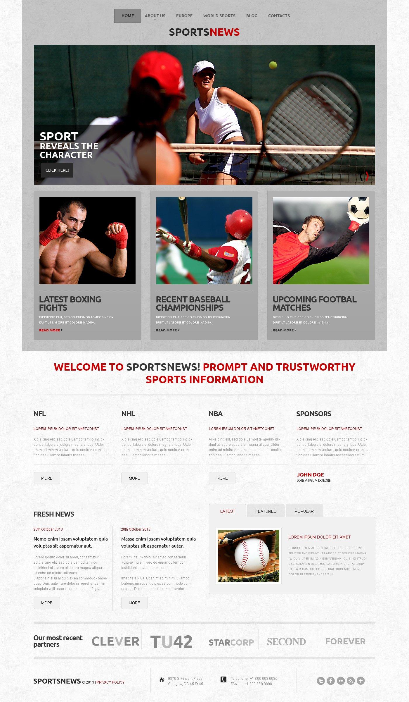 Адаптивний WordPress шаблон на тему спортивні новини №50502