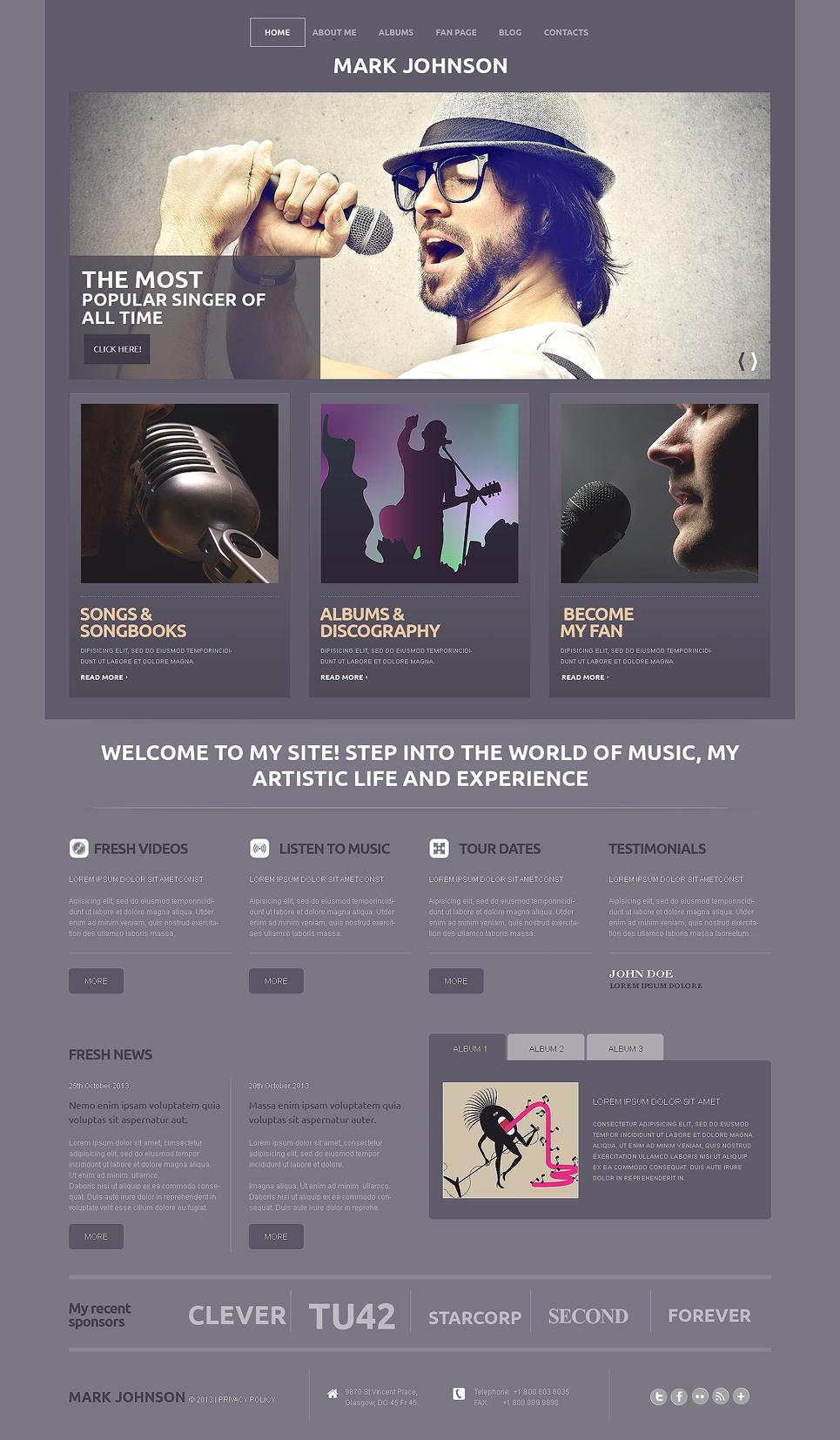 Адаптивный шаблон сайта на тему певец #50501