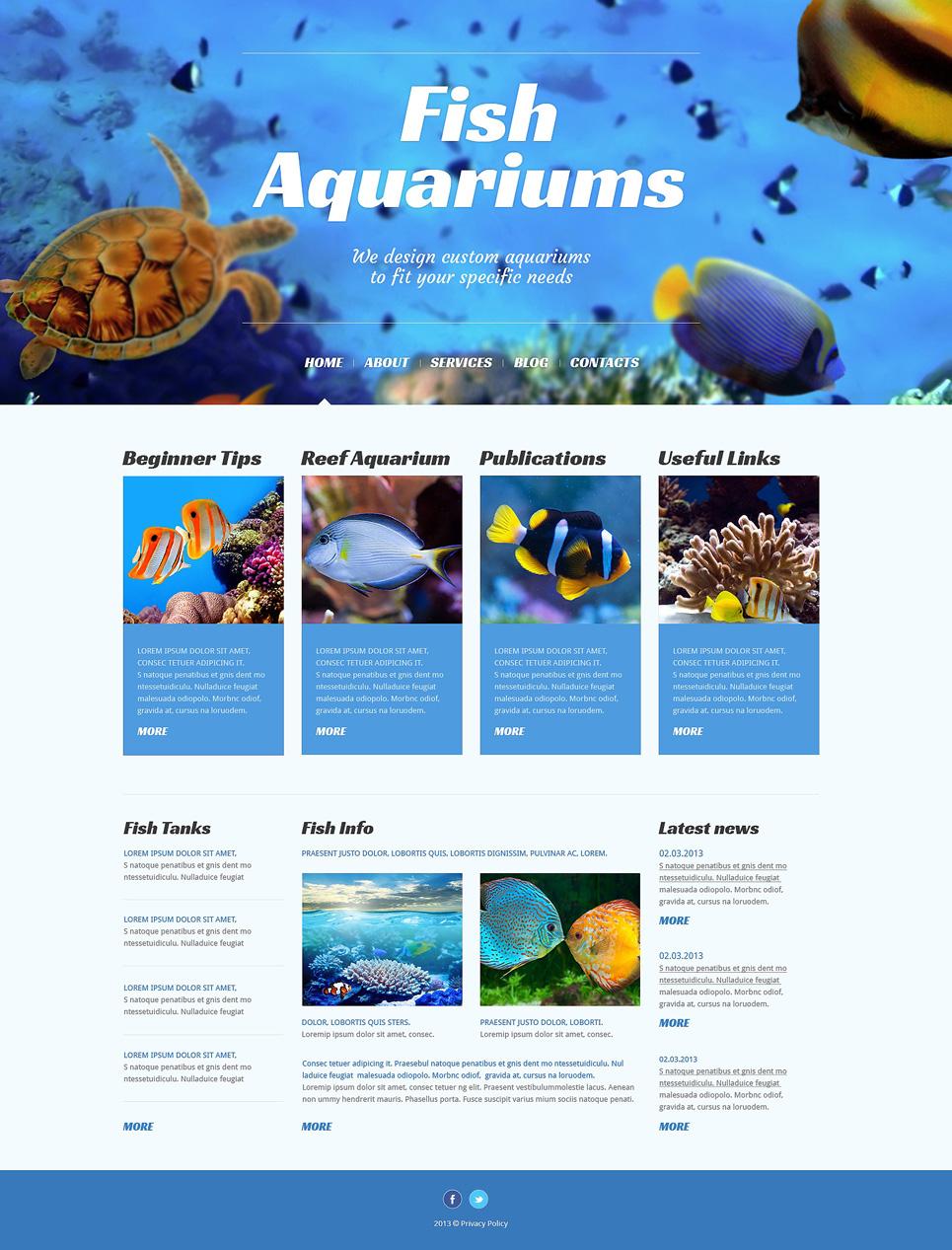 Адаптивный шаблон сайта на тему рыба #50525
