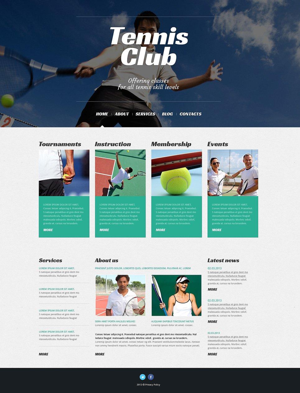 Адаптивный шаблон сайта на тему теннис #50527