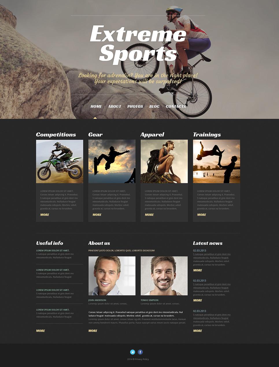 Адаптивный шаблон сайта на тему экстремальный спорт #50529