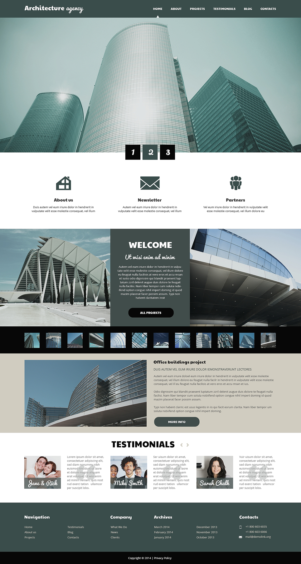 Адаптивный шаблон сайта на тему архитектура #50533