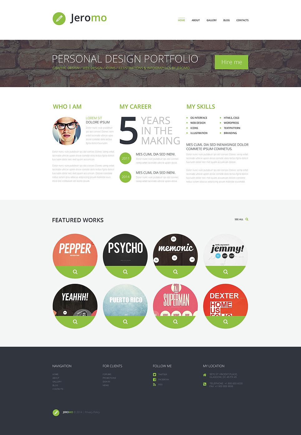 Адаптивный шаблон сайта на тему портфолио дизайнера #50534