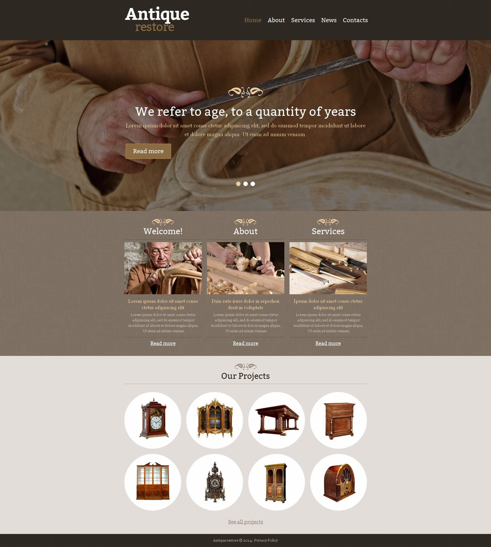 Antique Store Moto CMS HTML Template