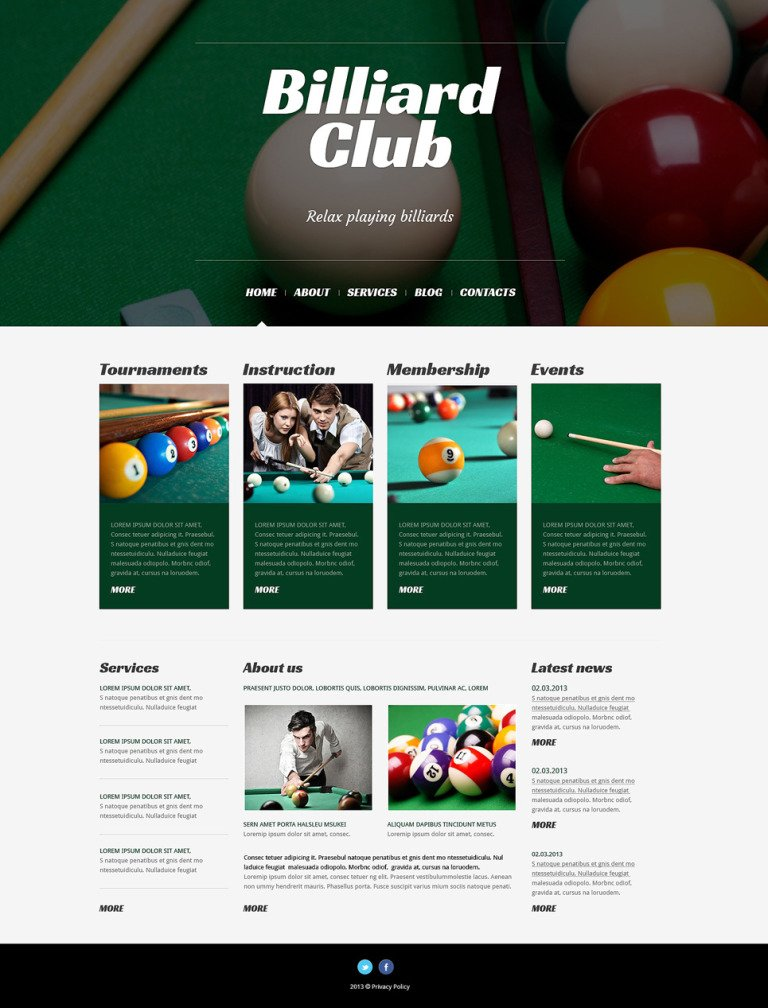 Billiards Responsive WordPress Theme New Screenshots BIG