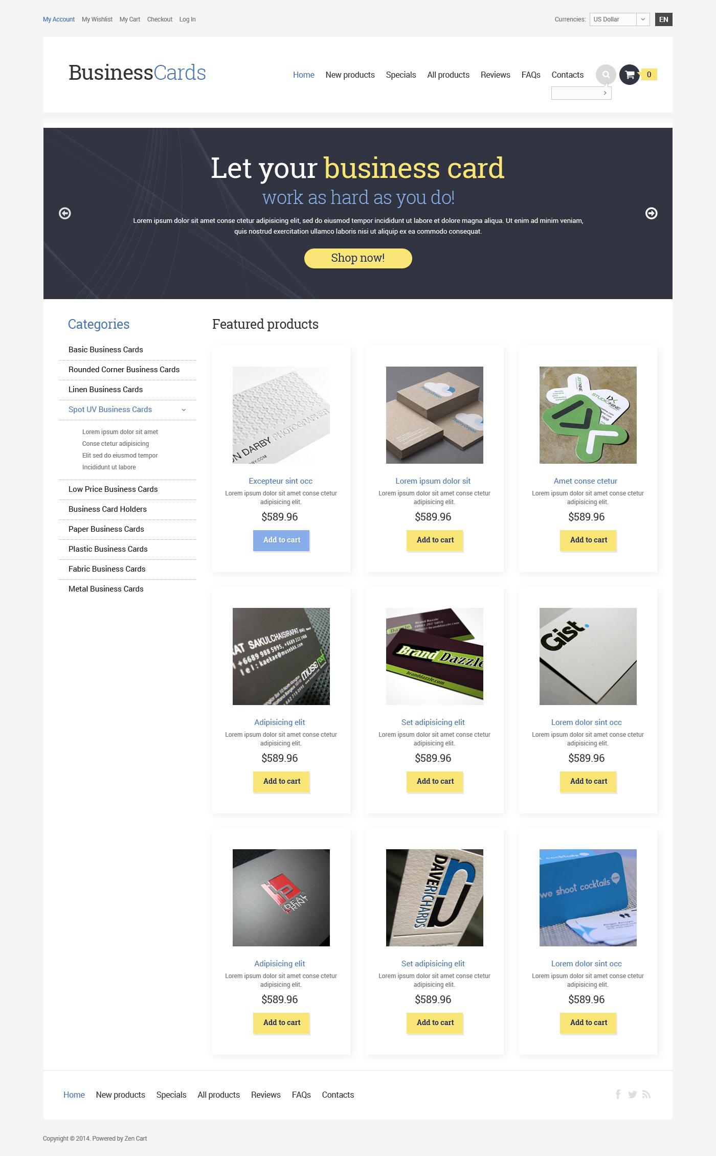 Business & Services ZenCart Template - screenshot
