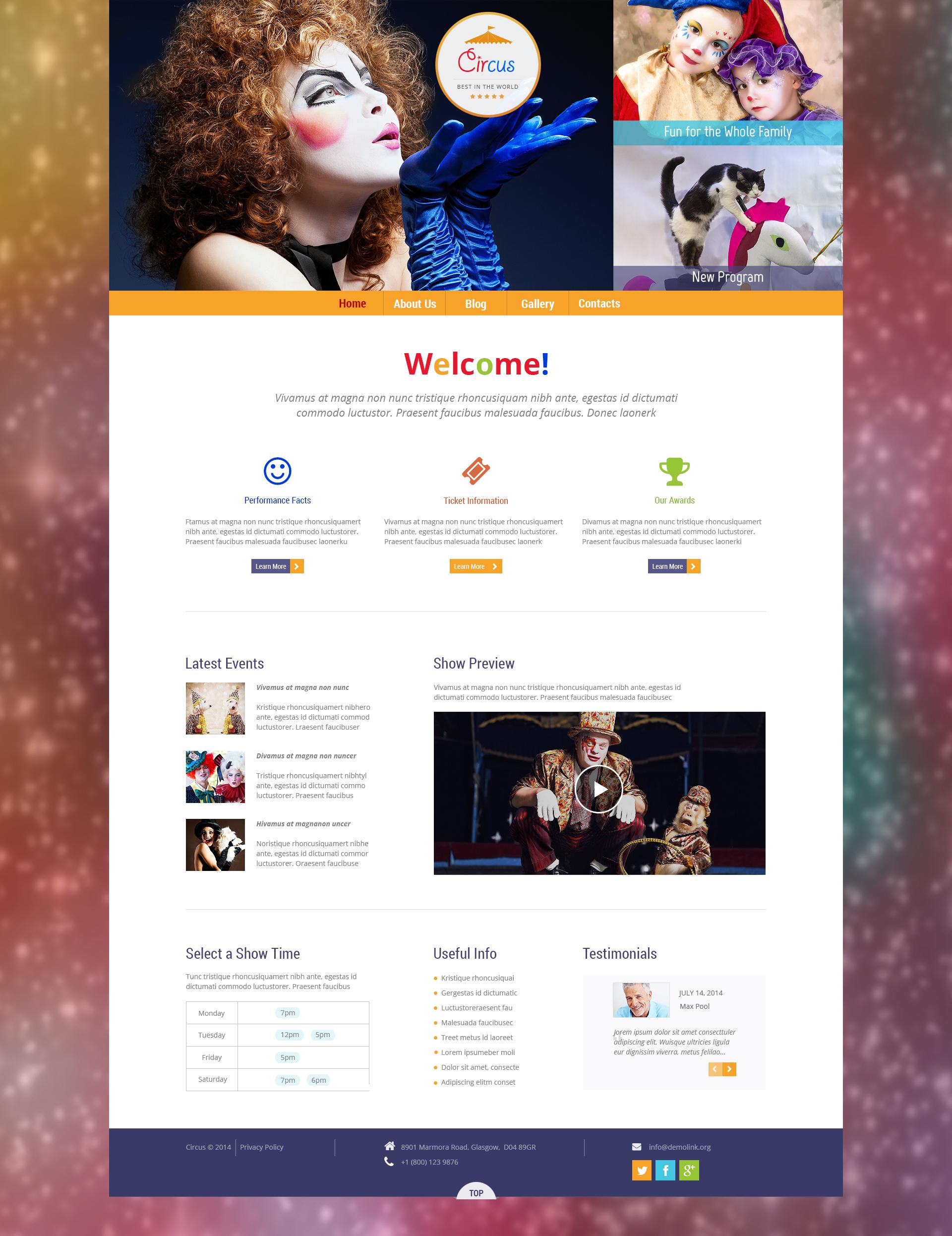 """Circus Wonders"" - адаптивний WordPress шаблон №50531"